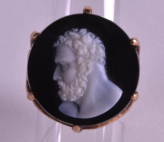 A LATE VICTORIAN CARVED CAMEO HARDSTONE RING with
