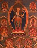 AN UNUSUAL 18TH/19TH CENTURY TIBETAN THANKA depicting a