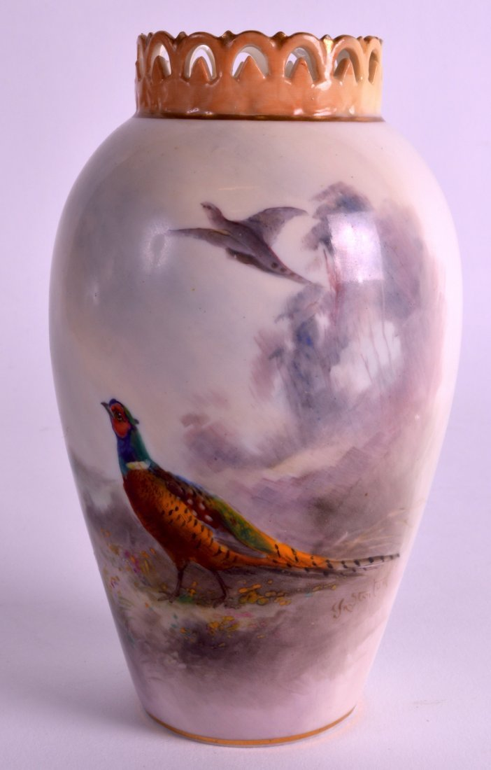 A ROYAL WORCESTER RETICULATED VASE C1907 painted with