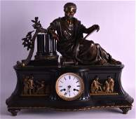 A LARGE MID 19TH CENTURY FRENCH BRONZE AND SLATE MANTEL