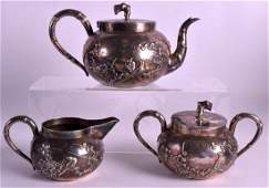A LATE 19TH CENTURY CHINESE EXPORT SILVER TEASET by Wo