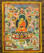 A GOOD LARGE 19TH CENTURY TIBETAN THANKA depicting