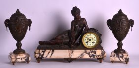 A 19th Century French Patinated Spelter Figural Clock