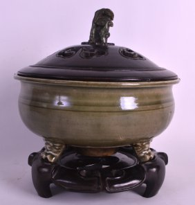 A Chinese Yuan/ming Dynasty Celadon Glazed Censer
