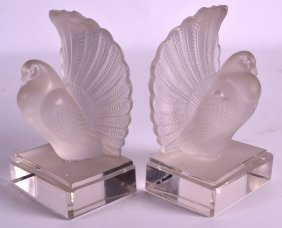 A Pair Of French Lalique Style Frosted Glass Bookends