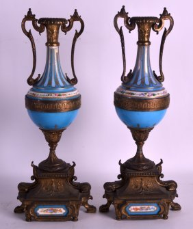A Pair Of 19th Century French Powder Blue Vases