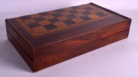 A Victorian Walnut And Rosewood Gaming Board For Chess