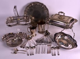 A 19th Century Elkington Silver Plated Basket Together