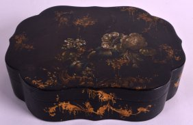 A Mid 19th Century English Lacquer Box And Cover