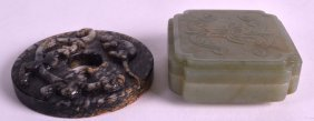 A 19th Century Chinese Green Jade Box And Cover