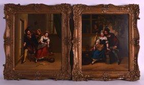 European School (19th Century) Oil On Tin, Pair,