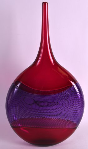 An Unusual Ruby And Puce Glass Art Glass Vase By David
