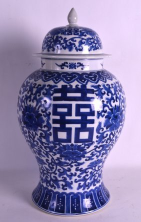An Early 20th Century Chinese Blue And White Baluster