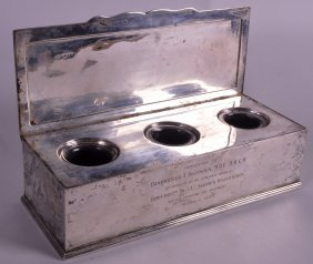 An Edward Ii Rectangular Silver Inkwell With Rising Top