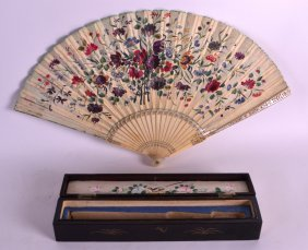 A Fine 19th Century Carved Ivory Fan Opening To Reveal