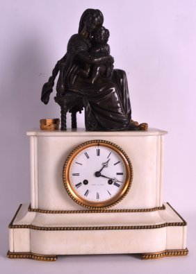 A 19th Century French Bronze And White Marble Mantel