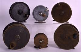 A GROUP OF SIX ANTIQUE FISHING REELS. (6)