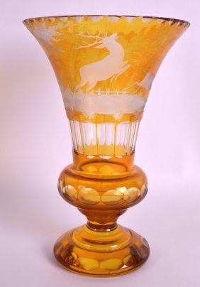 A 19th Century Bohemian Amber Glass Vase Incised With