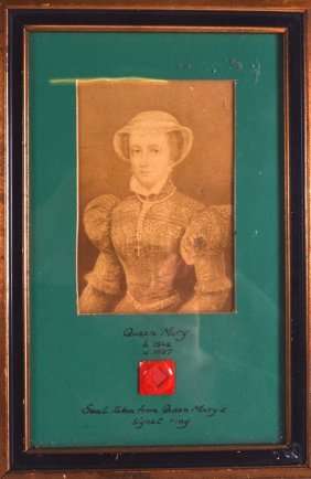 A Framed Mary Queen Of Scots Seal Inset With A