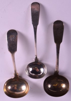 A Victorian Hallmarked Silver Ladle Together With Two