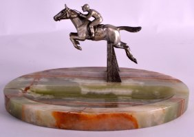 An Art Deco Onyx And Silver Plated Ash Tray Modelled As