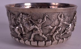 A Victorian Silver Circular Bowl Decorated In Relief