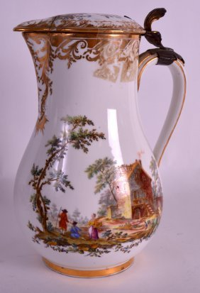 An 18th Century Sevres Porcelain Jug Painted With
