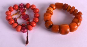 A Good Early 20th Century Chinese Carved Amber Bracelet