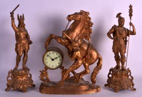 A Late 19th Century French Spelter Marley Horse Clock