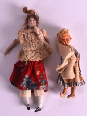 Two Antiques Porcelain Headed Dolls. (2)