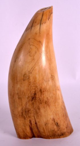 A 19th Century European Carved Scrimshaw Incised With A