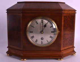 An Edwardian Walnut Mantel Striking Mantel Clock By