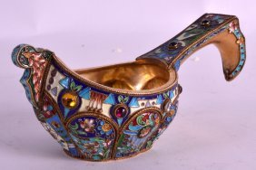 A Russian Silver And Enamel Quaich With Jewelled