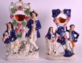 A Large 19th Century Staffordshire Figural Watch Holder