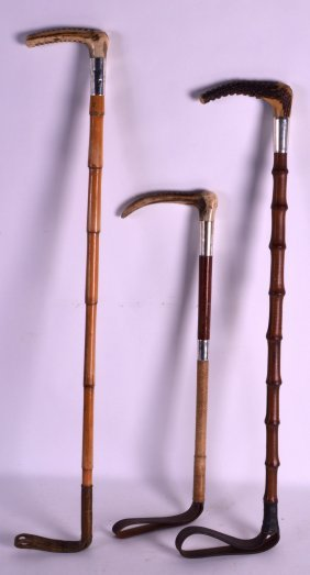 Two Victorian Silver Mounted Riding Crops By Swaine And