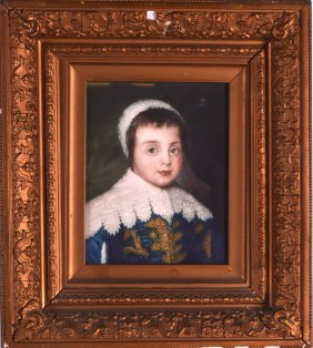 A 19th Century Framed Portrait Of A Child Within A Good