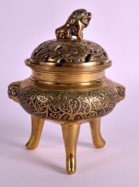 A 19th Century Chinese Gilt Bronze Censer And Cover