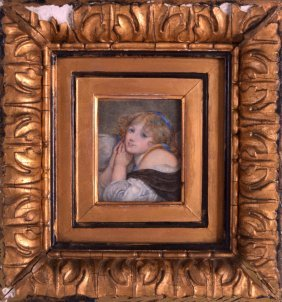 A Regency Painted Ivory Portrait Miniature Depicting A