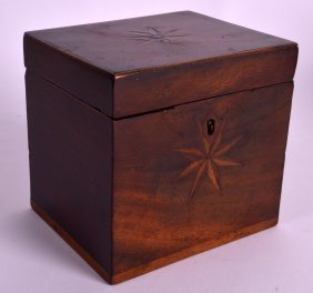 A George Iii Small Mahogany Tea Caddy Inset With Star