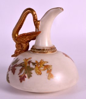 A Late 19th Century Royal Worcester Ivory Jug Painted