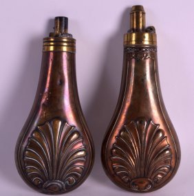 A Victorian Copper Powder Flask Together With Another