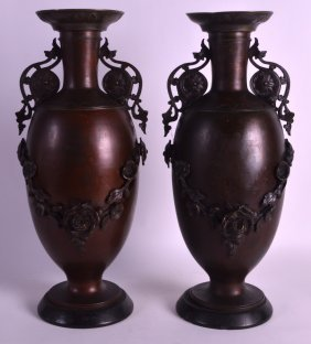 A Pair Of 19th Century French Twin Handled Bronze Vases