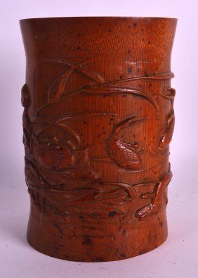 An Early 20th Century Chinese Carved Bamboo Brush Pot