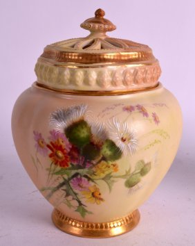 A Royal Worcester Blush Ivory Pot Pourri And Two Covers