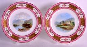 A Pair Of 19th Century Minton Porcelain Plates Painted