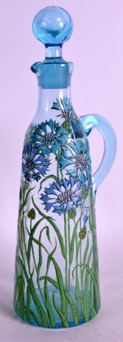 An Art Nouveau Enamelled Glass Decanter And Stopper