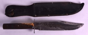 An Antique Horn And Steel Bowie Knife. 1ft 2ins Long.