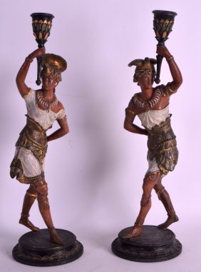 A Pair Of Persian Bronze Candlesticks In The Antiquity