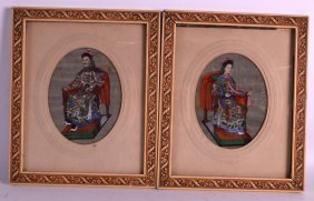 Chinese School (19th Century) Emperor And Empress,