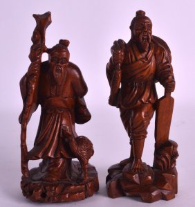 A Pair Of Early 20th Century Japanese Carved Boxwood